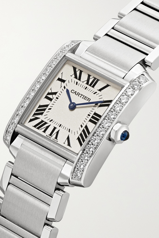 Cartier Tank Française 25,05 mm mittelgroße Uhr aus Edelstahl mit Diamanten