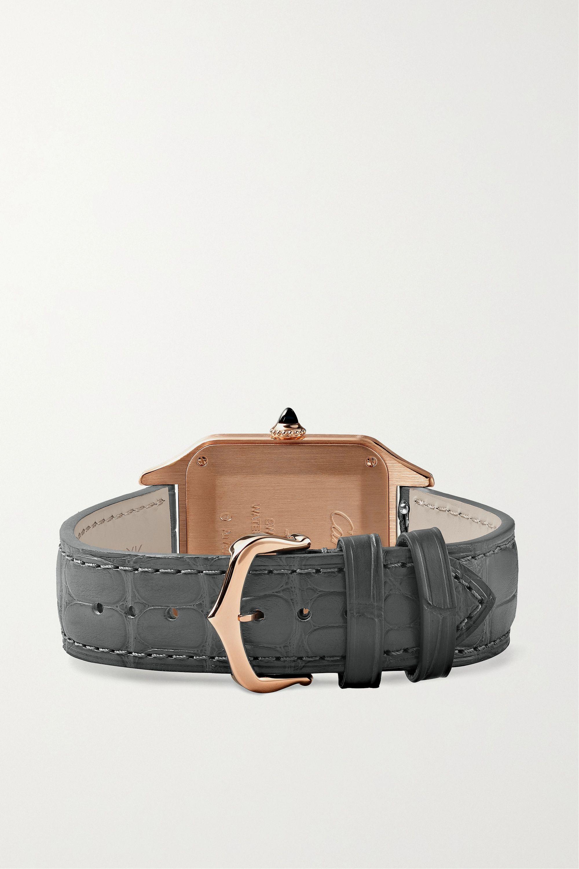 Cartier Santos-Dumont Automatic 31.4mm large 18-karat pink gold and alligator watch