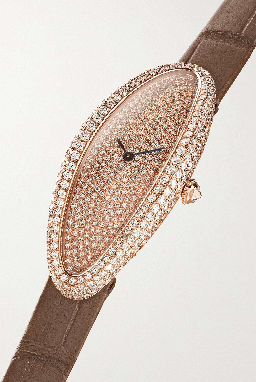 Cartier Baignoire Allongée 21 毫米 18K 玫瑰金钻石中号腕表(短吻鳄鱼皮表带)