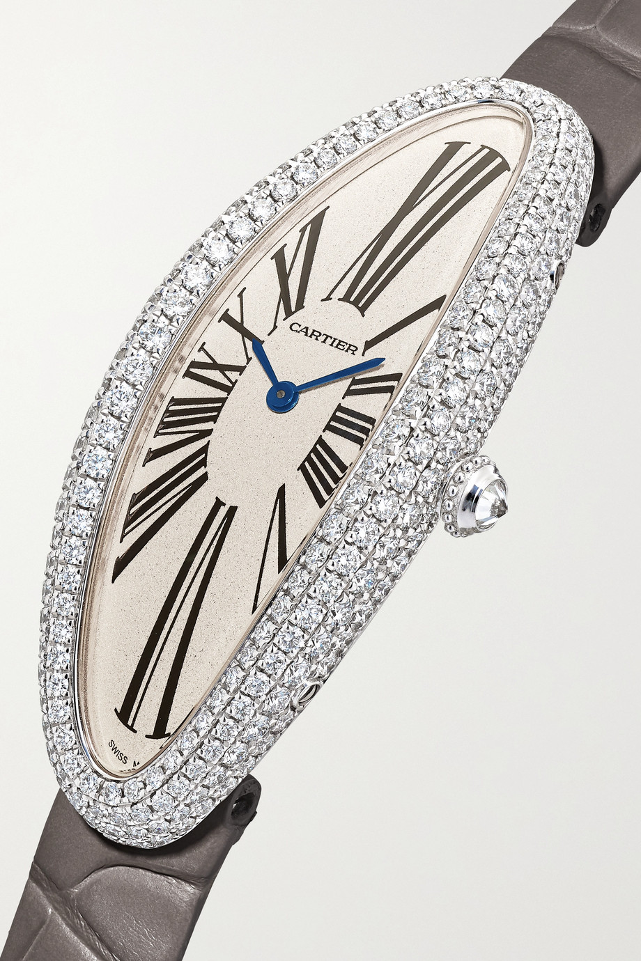 Cartier Baignoire Allongée 21mm medium 18-karat white gold, alligator and diamond watch