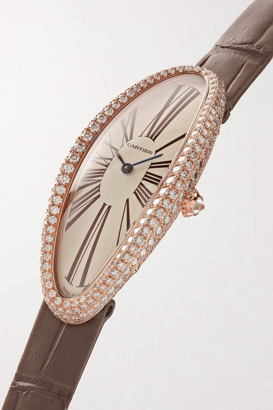 Cartier Baignoire Allongée 21mm medium 18-karat pink gold, alligator and diamond watch
