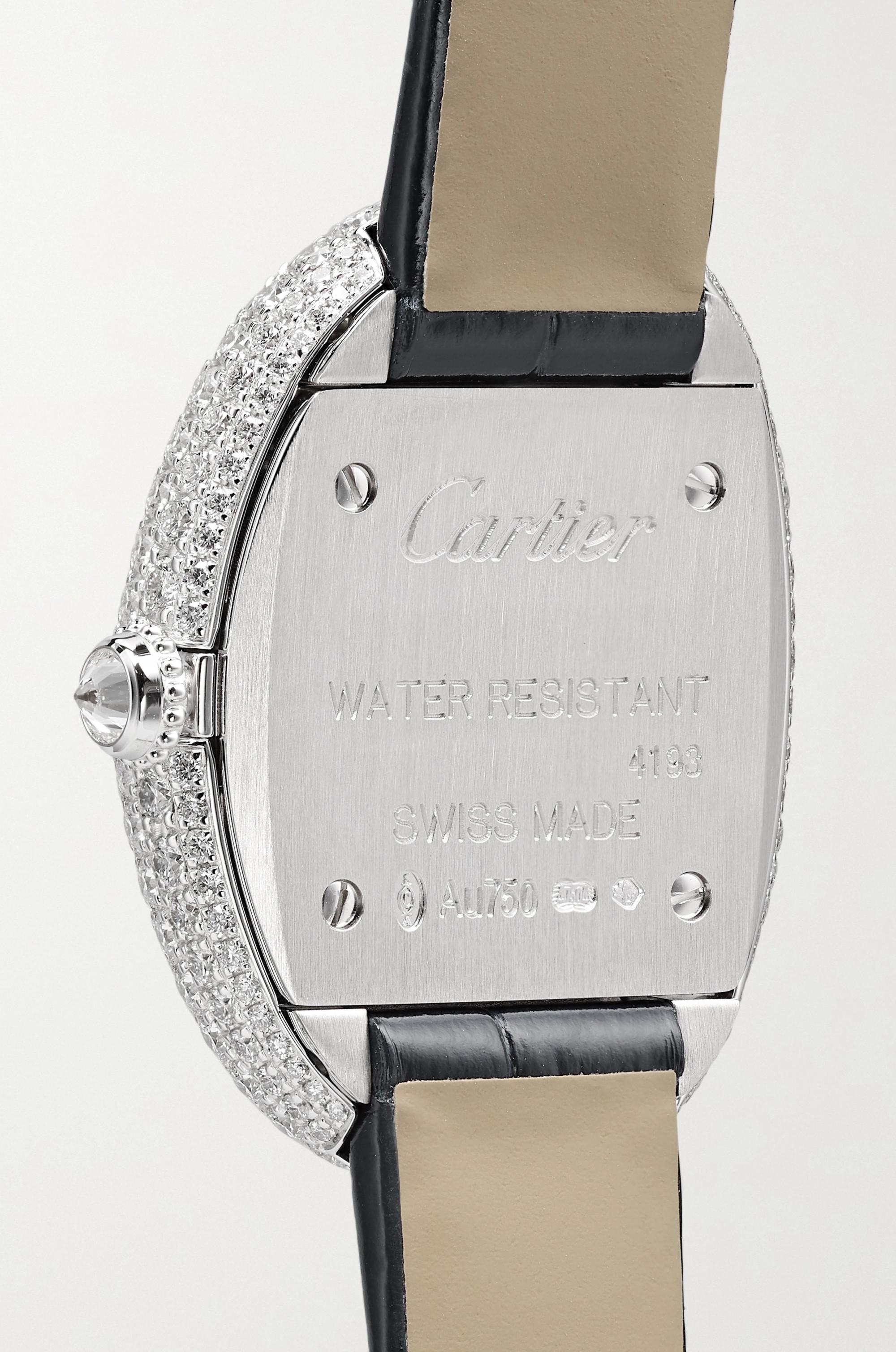 Cartier Baignoire 1920 26mm small rhodium-finish 18-karat white gold, alligator and diamond watch
