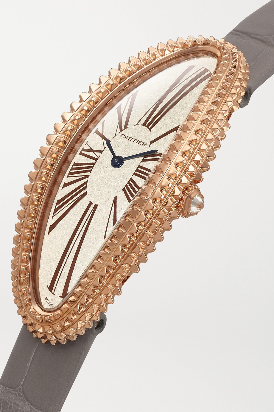 Cartier Baignoire Allongée 47mm medium 18-karat rose gold, alligator and diamond watch