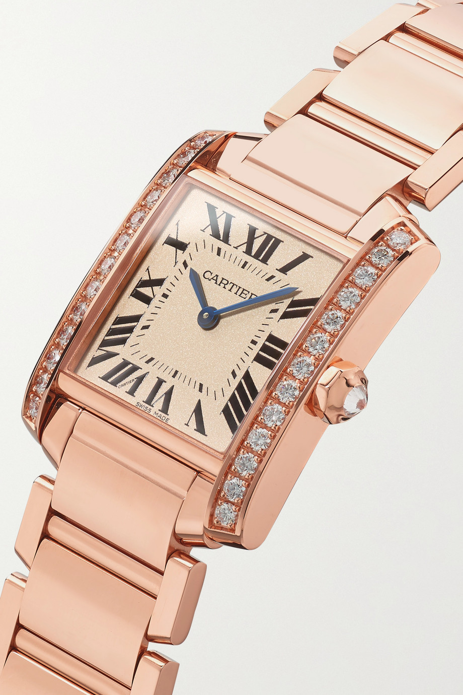Cartier Tank Française 25mm medium 18-karat rose gold diamond watch