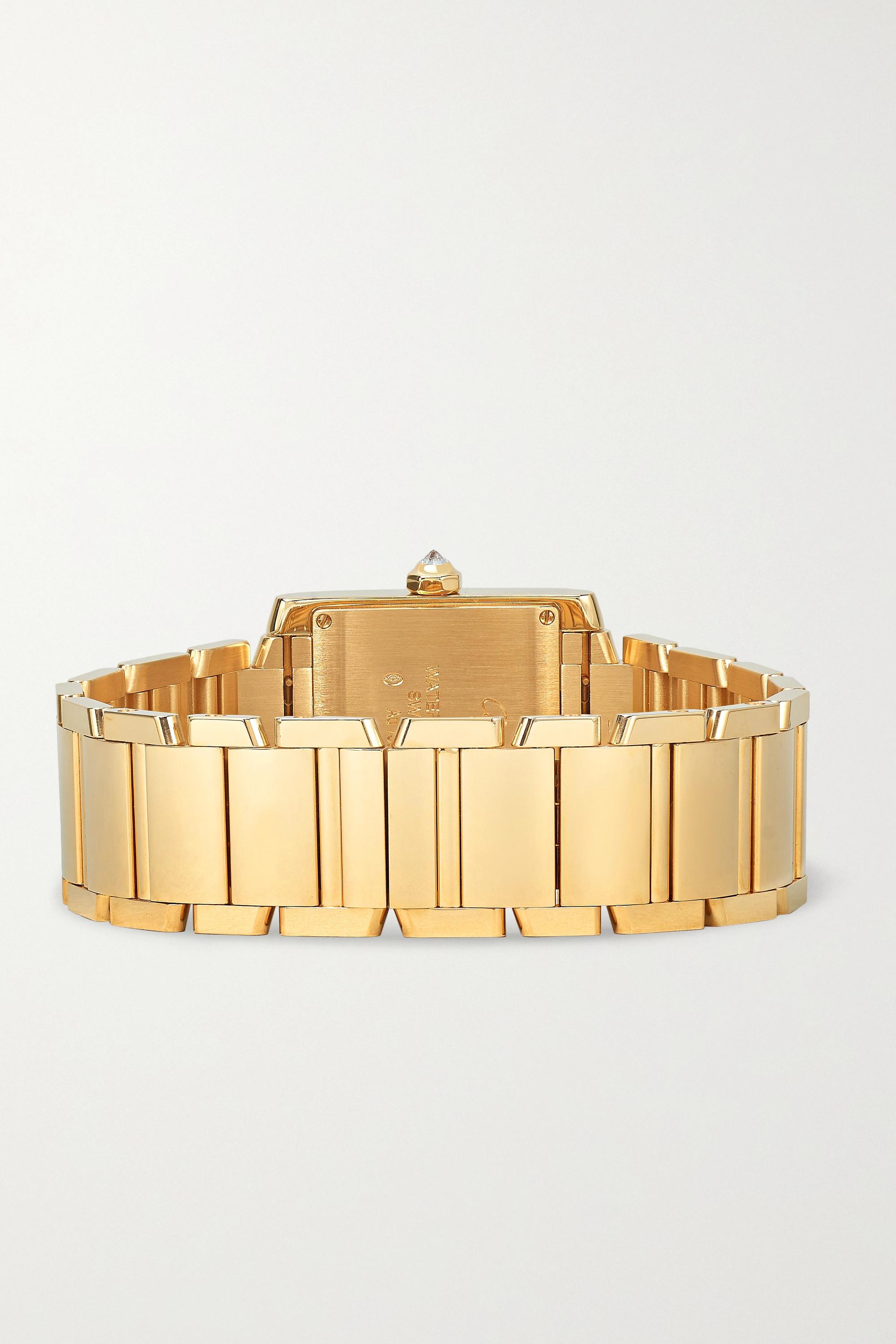 Cartier Tank Française 25 毫米 18K 黄金钻石中号腕表