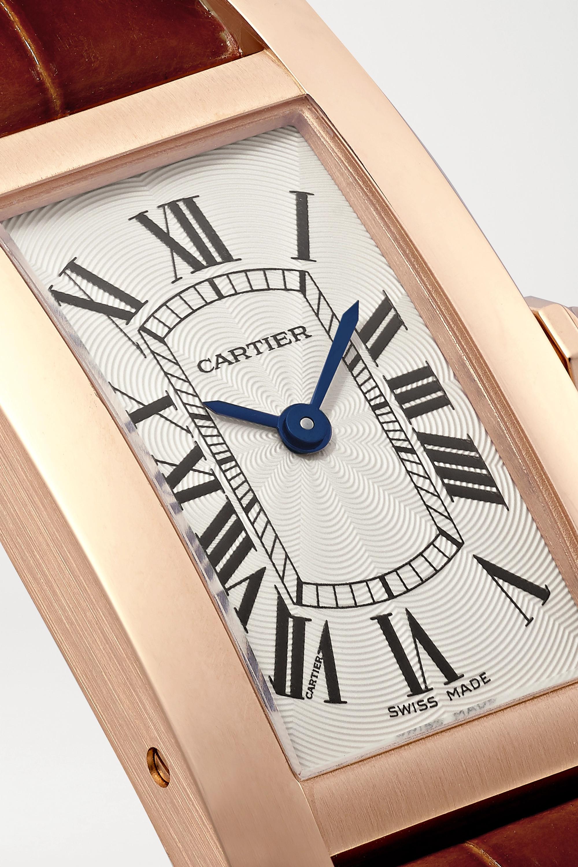 Cartier Tank Américaine 34.8mm small 18-karat rose gold and alligator watch
