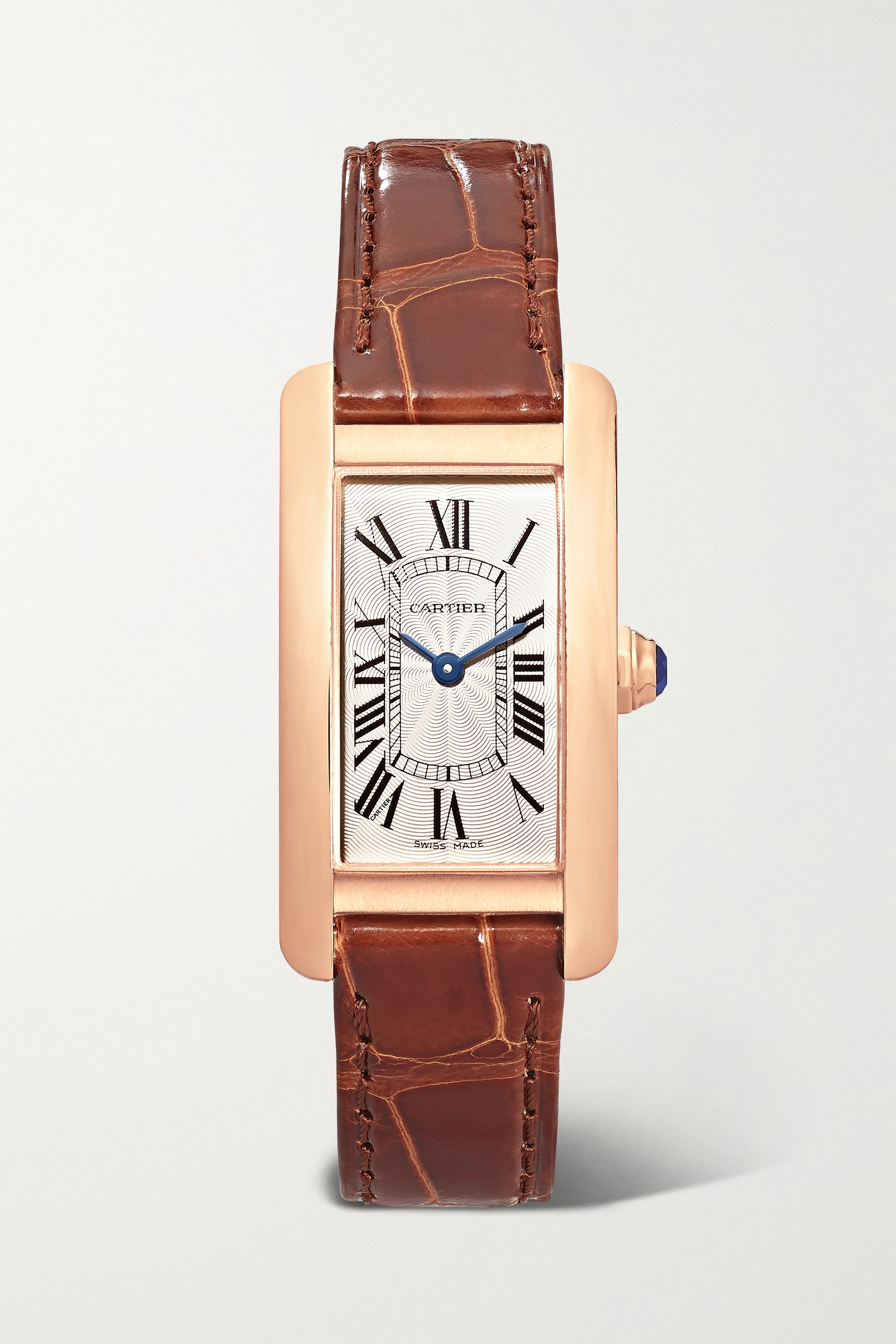 Cartier Tank Américaine 34.8mm small 18-karat rose gold and alligator watch