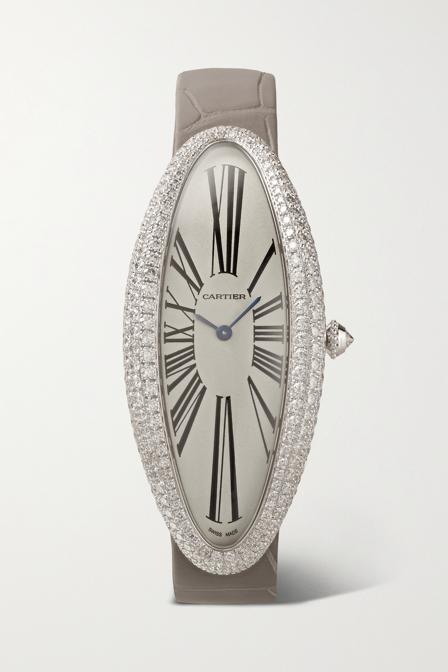 Cartier Baignoire Allongée Automatic 23mm extra large rhodium-finished 18-karat white gold, alligator and diamond watch
