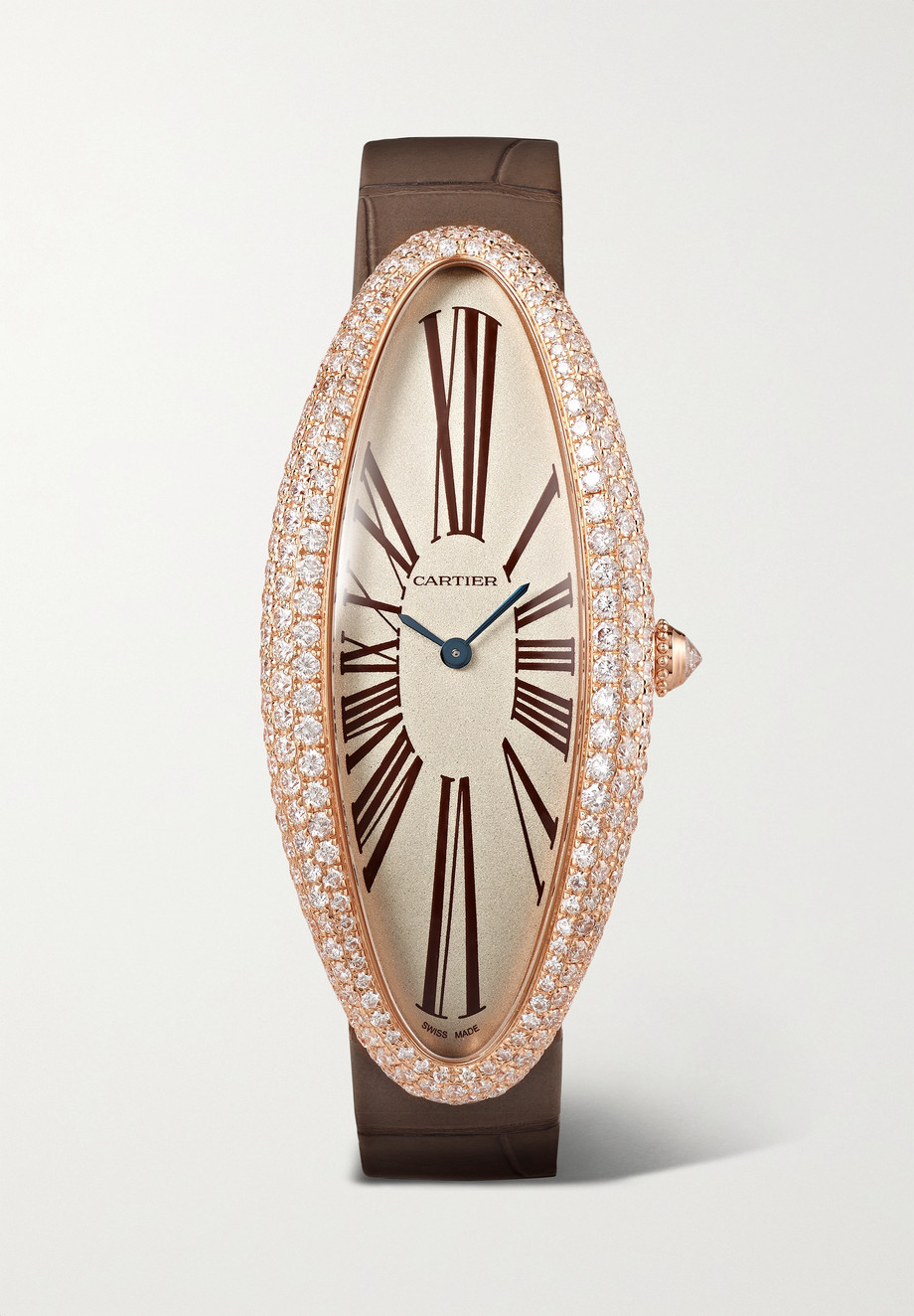Cartier Baignoire Allongée 23mm extra large 18-karat rose gold, alligator and diamond watch