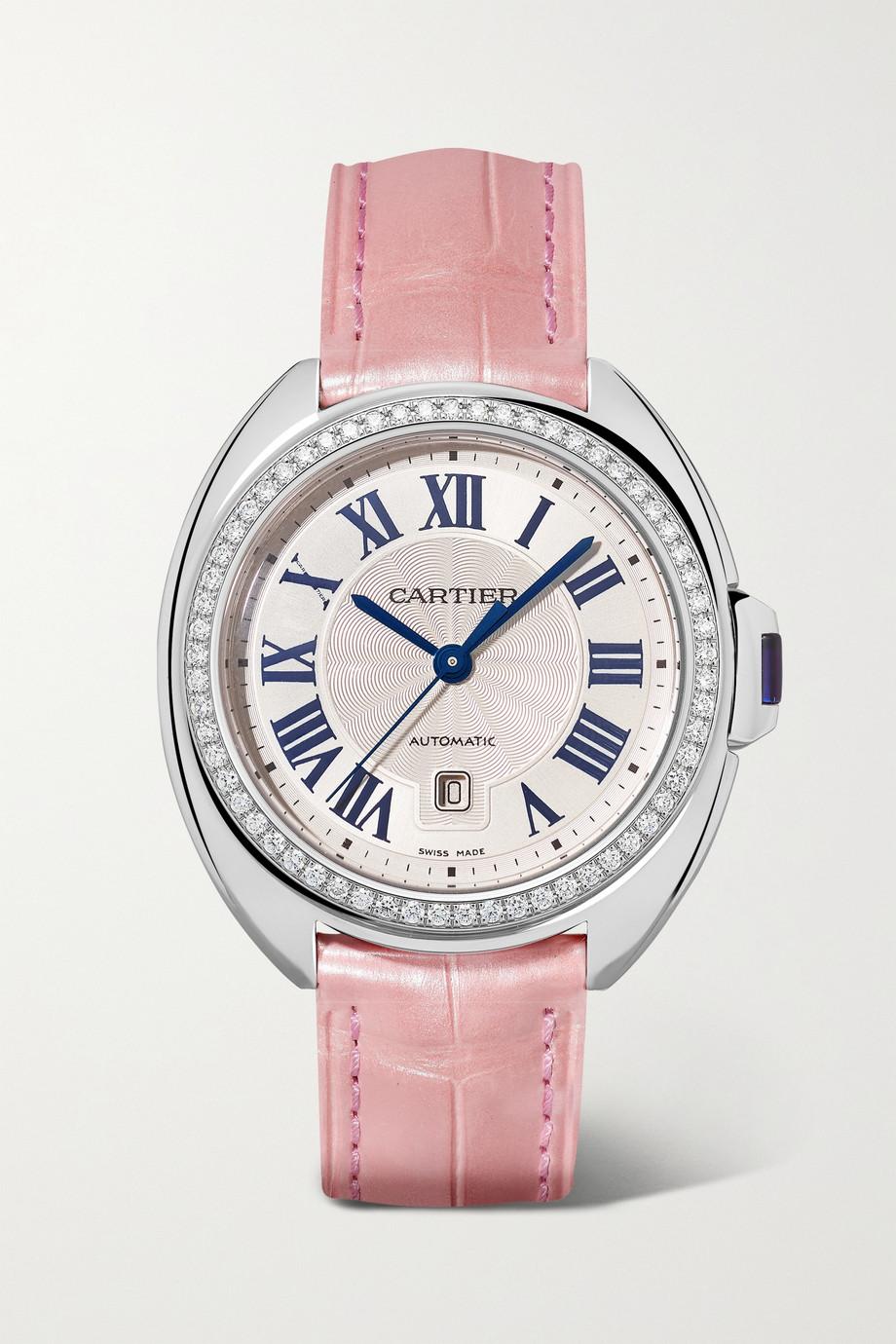 Cartier Clé de Cartier Automatic 34,11 mm Uhr aus Edelstahl mit Diamanten und Alligatorlederarmband