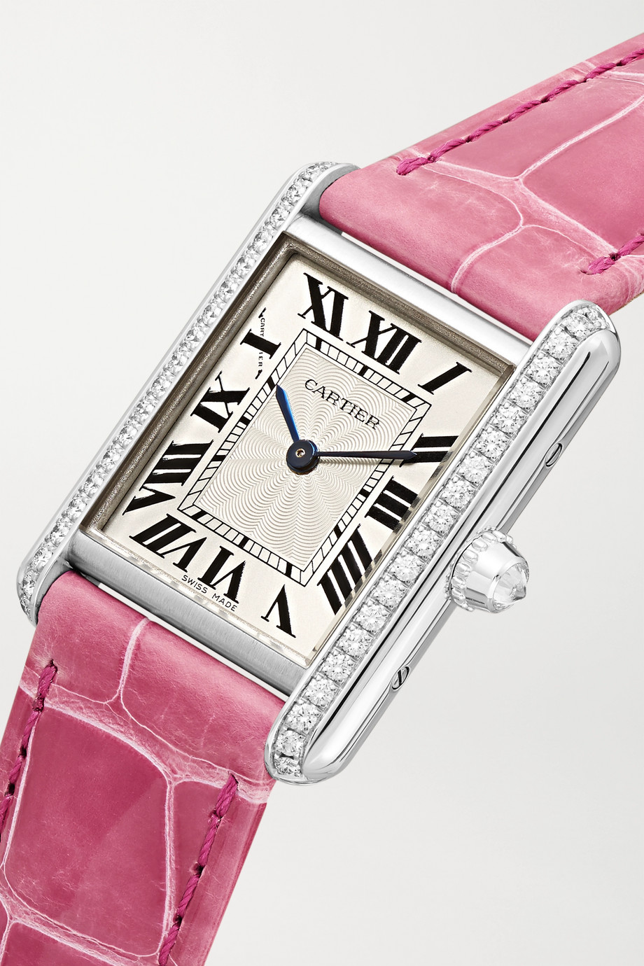 Cartier Tank Louis Cartier 22mm small rhodiumized 18-karat white gold, alligator and diamond watch