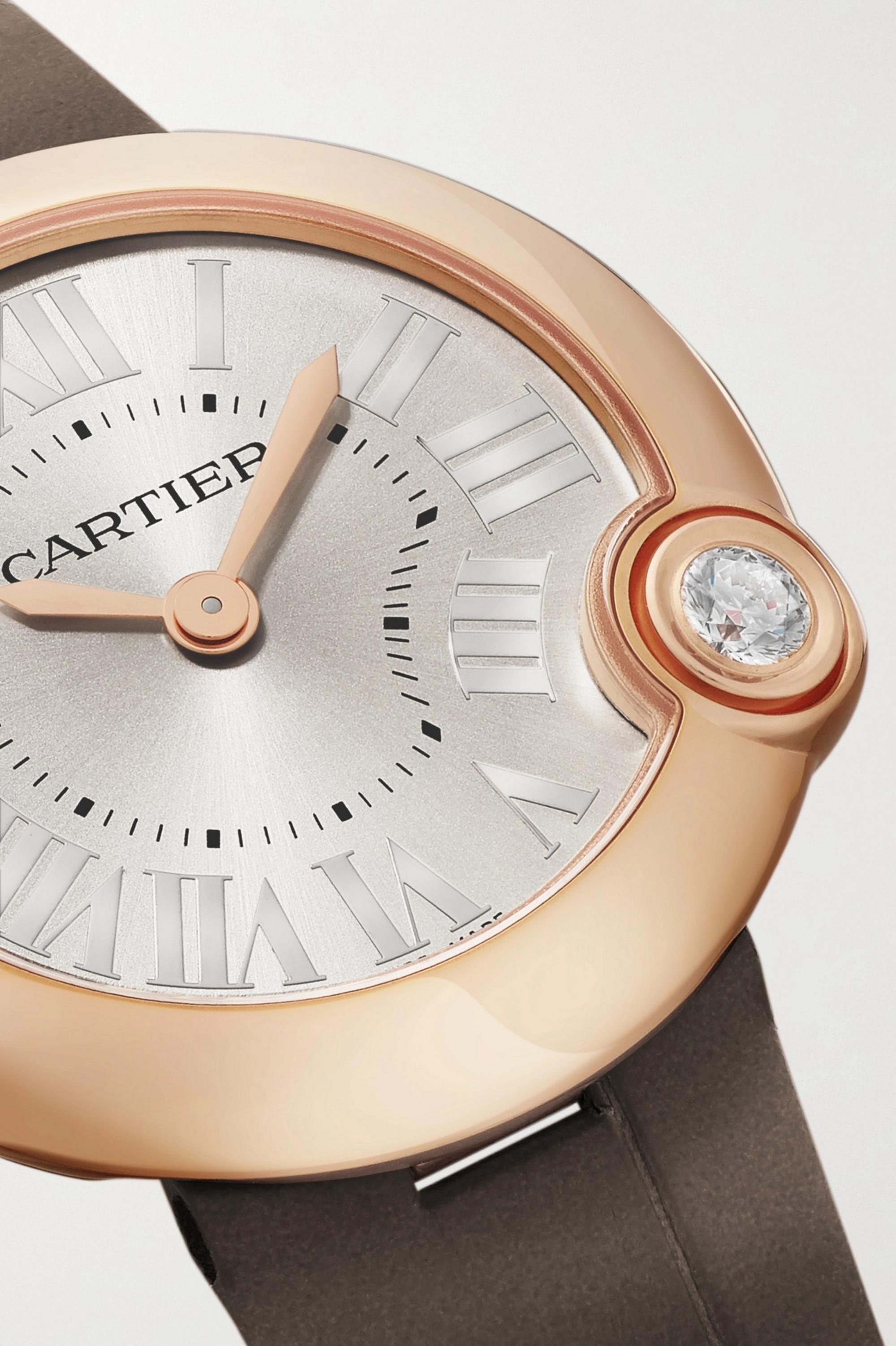 Cartier Ballon Blanc de Cartier 30mm 18-karat rose gold, alligator and diamond watch