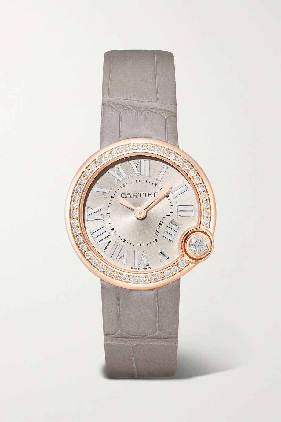 Cartier Ballon Blanc de Cartier 30mm 18-karat rose gold, alligator and diamond watch