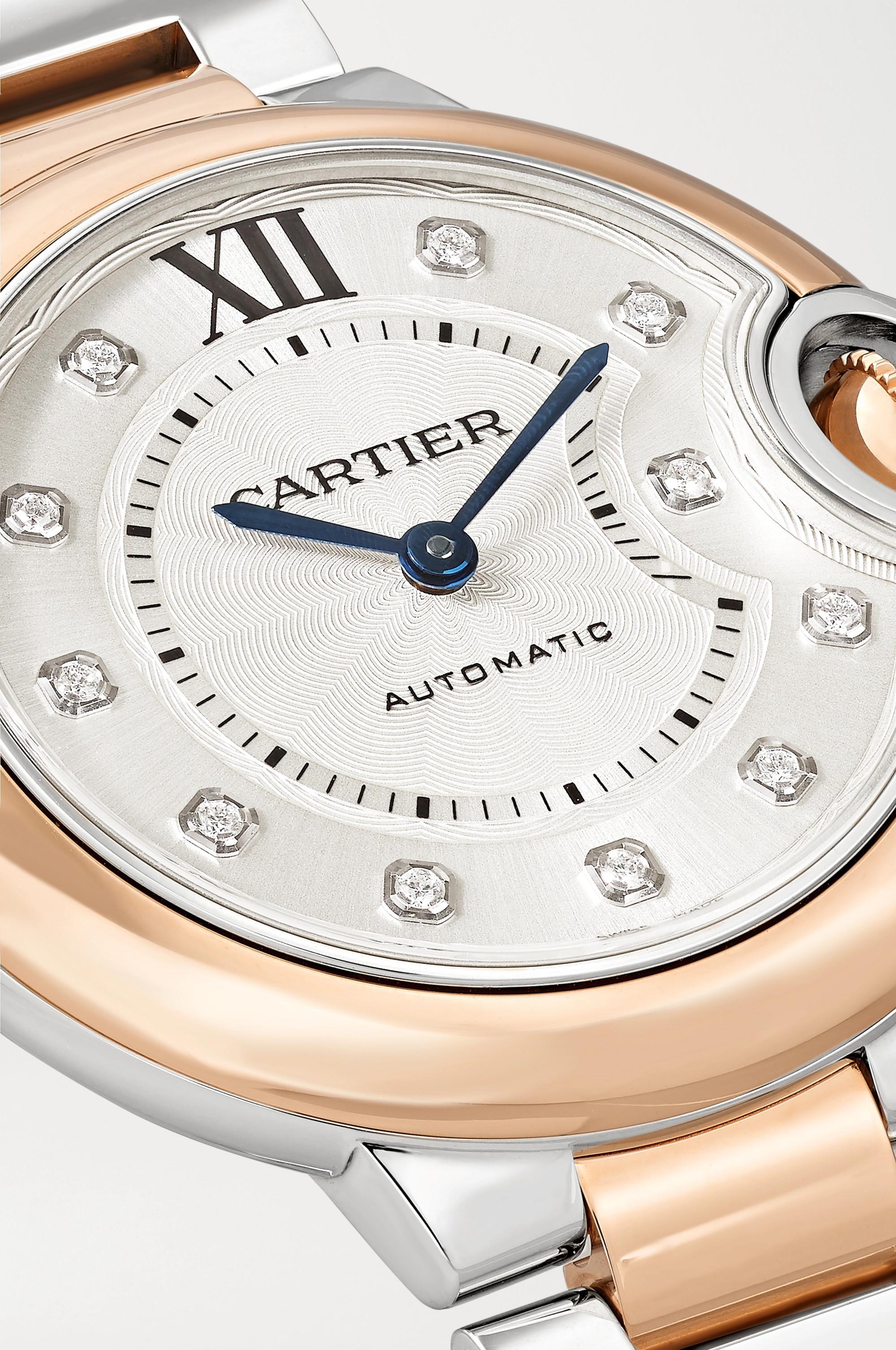 Cartier Ballon Bleu de Cartier Automatic 33mm 18-karat rose gold, stainless steel and diamond watch