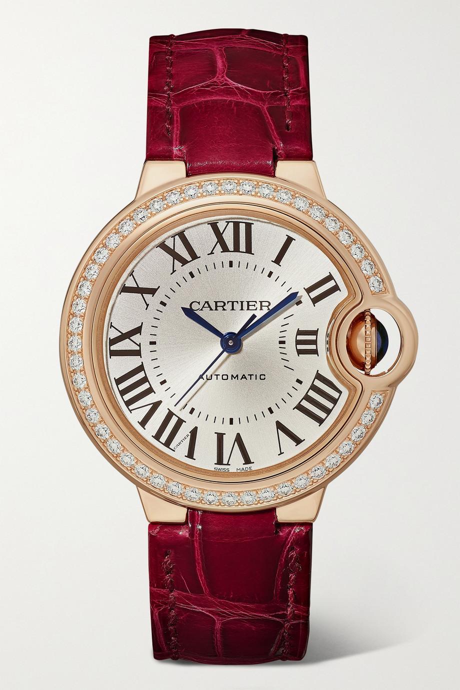Cartier Ballon Bleu de Cartier Automatic 33 mm Uhr aus 18 Karat Roségold mit Diamanten und Alligatorlederarmband