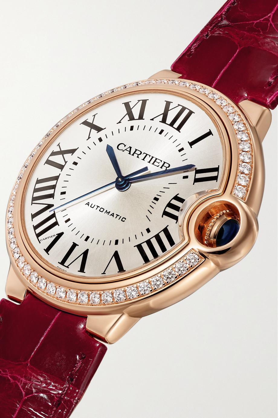 Cartier Montre en or rose 18 carats (750/1000) et diamants à bracelet en alligator Ballon Bleu de Cartier Automatique 36 mm