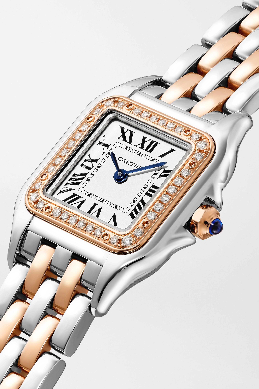Cartier Panthère de Cartier 22mm small 18-karat rose gold and stainless steel diamond watch