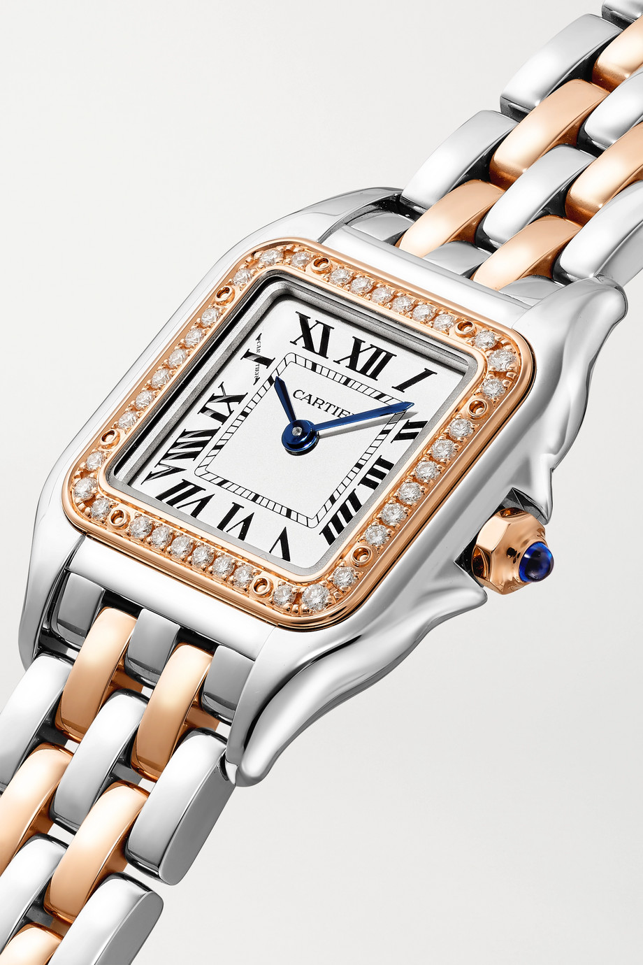 Cartier Panthère de Cartier 22mm small 18-karat rose gold and stainless steel diamond watch