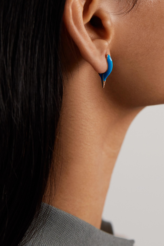 Melissa Kaye Lola mini 18-karat gold, diamond and enamel earrings