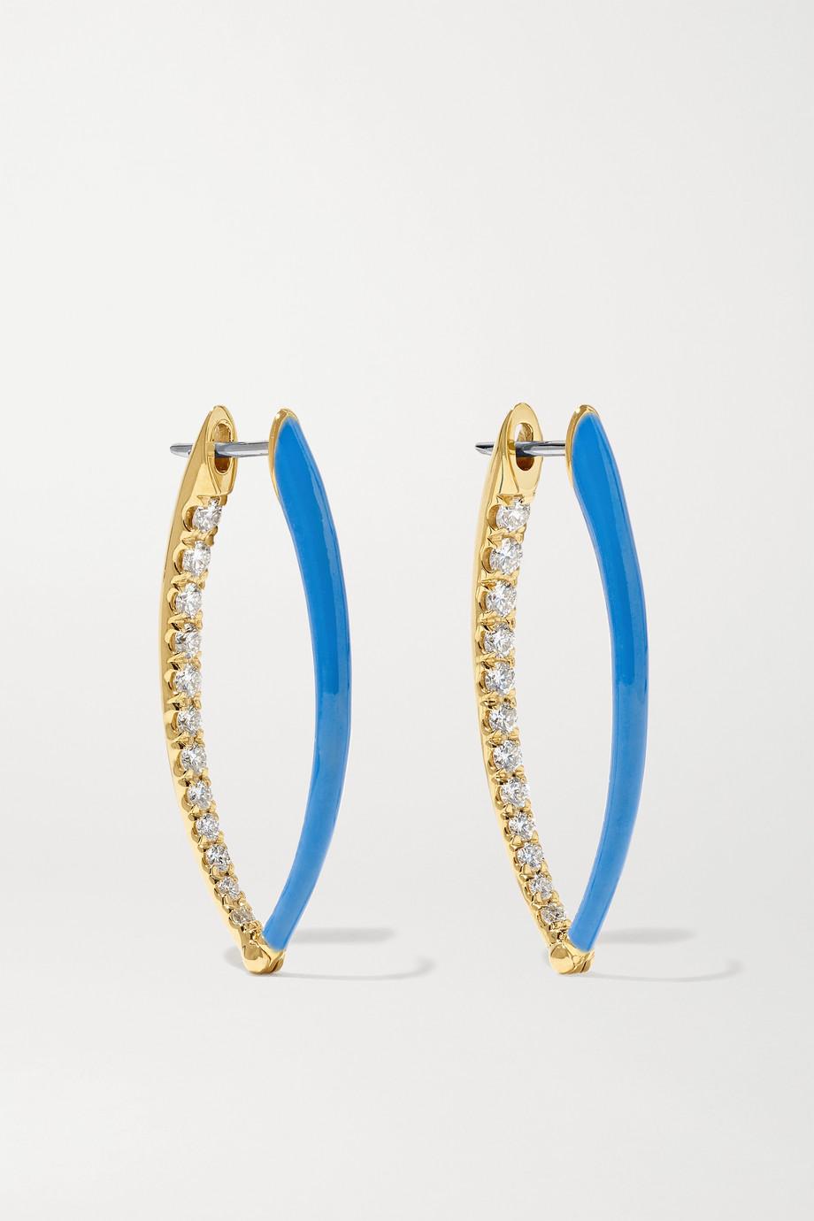 Melissa Kaye Cristina medium 18-karat gold, diamond and enamel earrings
