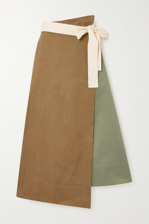 ARTCLUB + NET SUSTAIN Rivetti asymmetric color-block cotton skirt