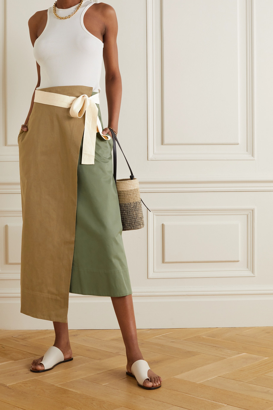 ARTCLUB + NET SUSTAIN Rivetti asymmetric color-block cotton skirt