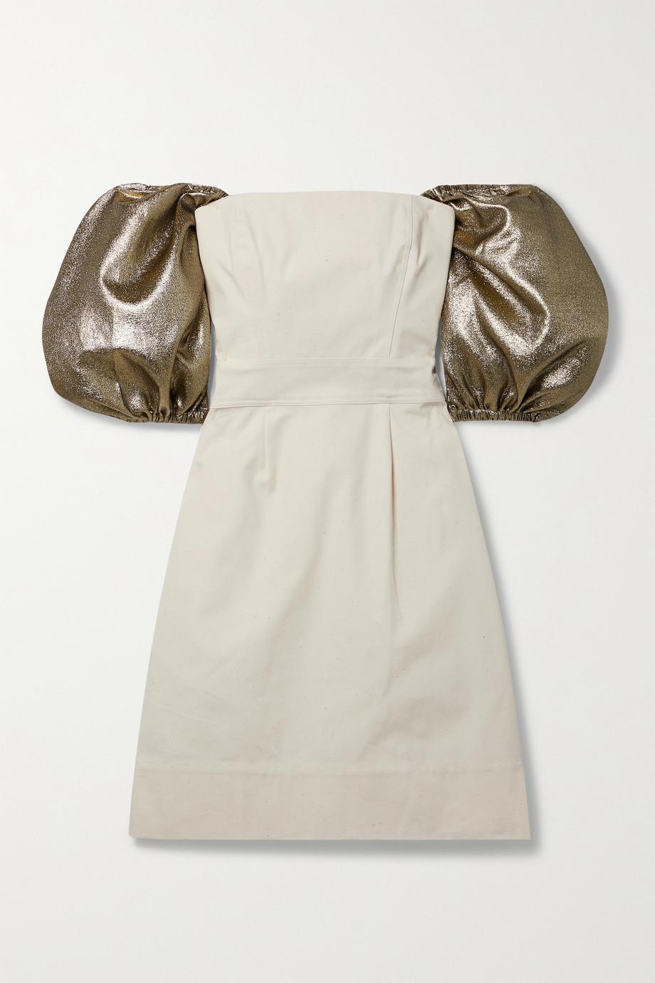 ARTCLUB + NET SUSTAIN Castello wandelbares Minikleid aus Baumwoll-Canvas mit Lurex®-Besätzen