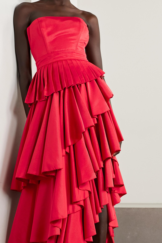 ARTCLUB + NET SUSTAIN Casa Mollino wandelbares asymmetrisches Kleid aus Faille mit Rüschen