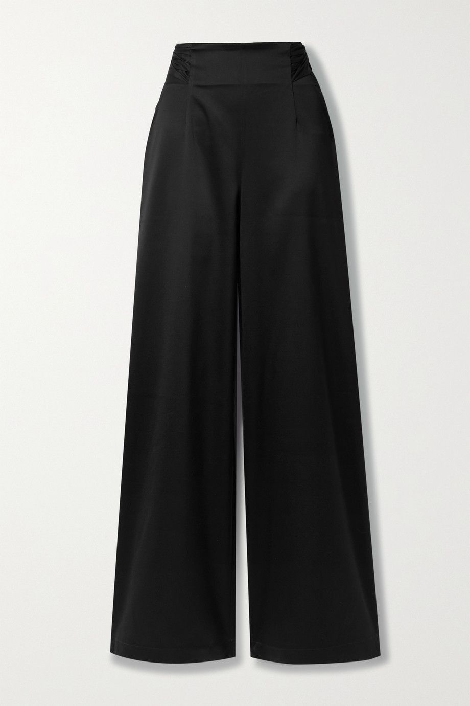 ARTCLUB + NET SUSTAIN Rossini belted silk taffeta-trimmed satin wide-leg pants