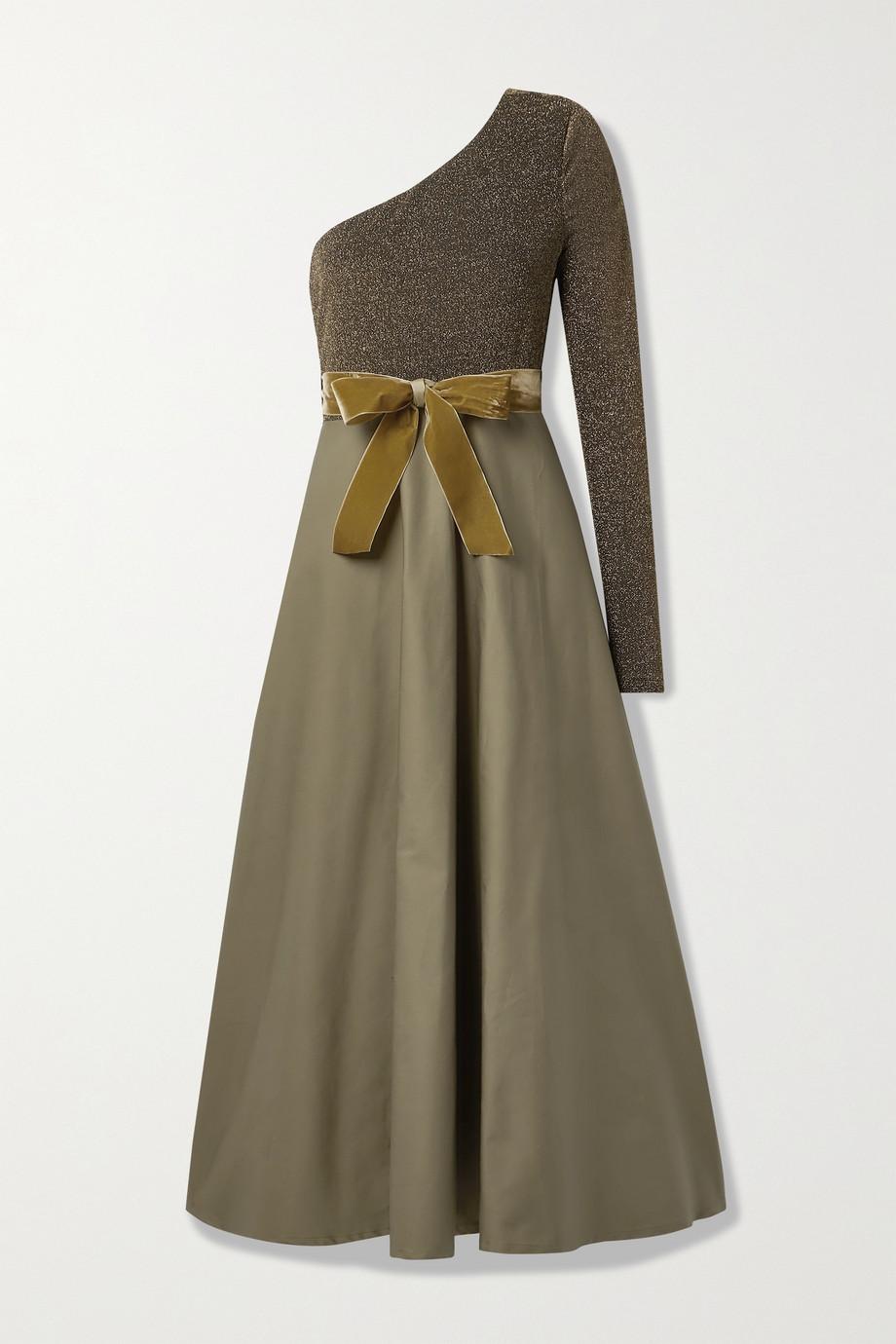 ARTCLUB + NET SUSTAIN Casa Miller one-sleeve velvet-trimmed cotton-twill and stretch-Lurex wrap maxi dress