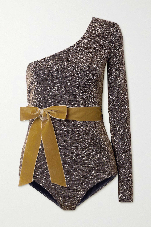 ARTCLUB + NET SUSTAIN Miller one-sleeve velvet-trimmed stretch-Lurex bodysuit