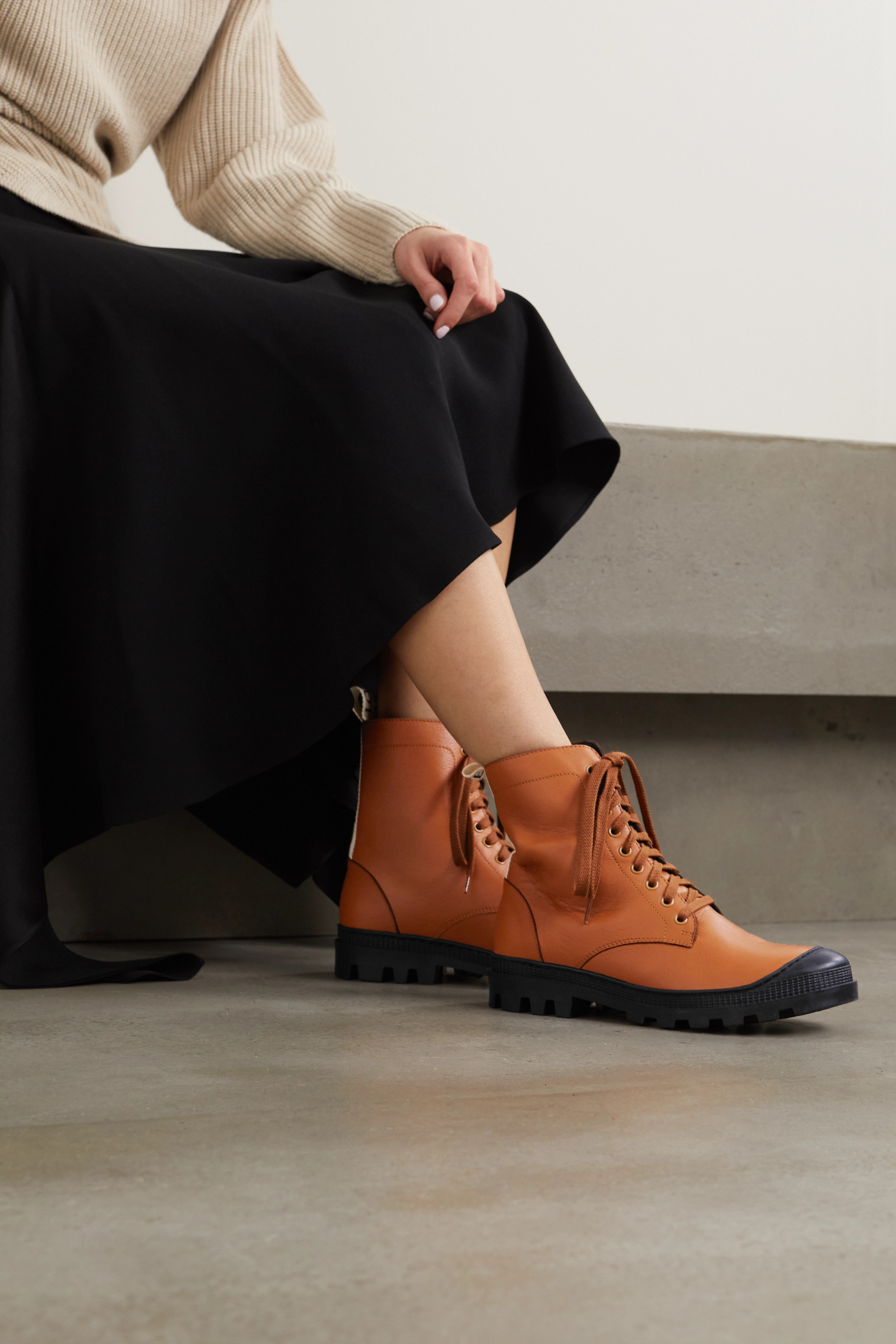 Loewe Logo-print canvas-trimmed leather ankle boots
