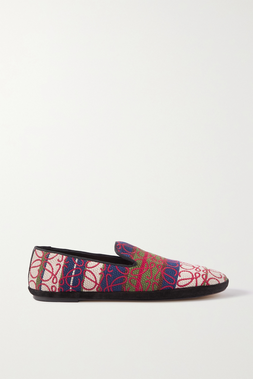 Loewe Anagram Loafers aus Canvas mit Jacquard-Muster und Logostickereien