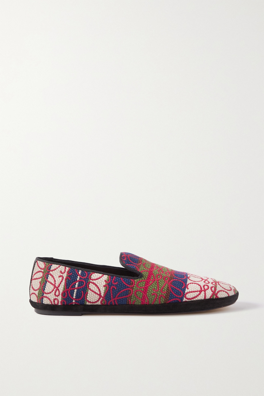 Loewe Anagram logo-embroidered canvas-jacquard loafers