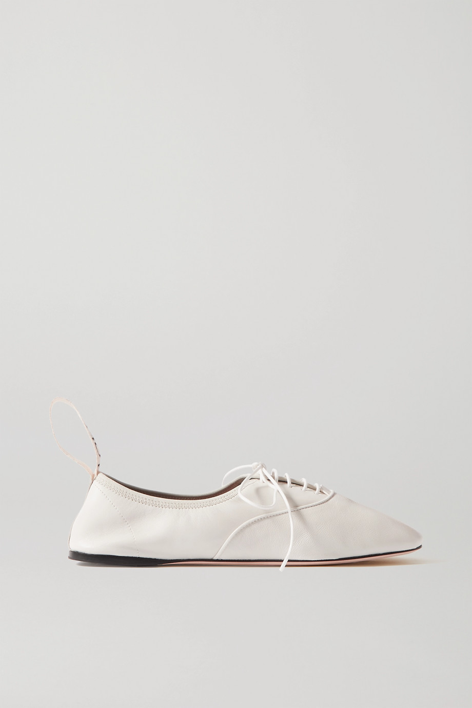 Loewe Logo-print lace-up leather ballet flats