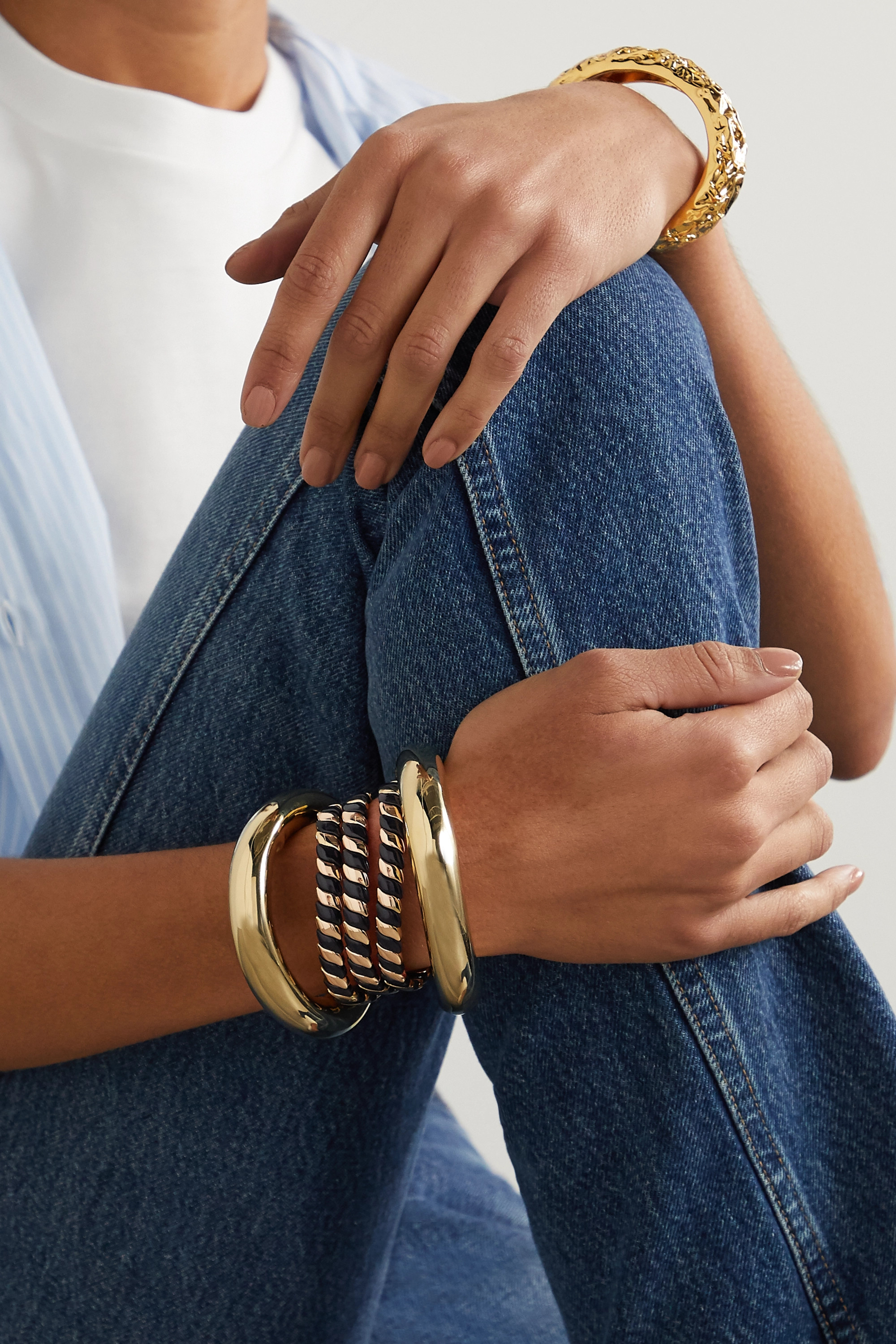 Roxanne Assoulin Show Me The Ropes set of three gold-tone and enamel bracelets