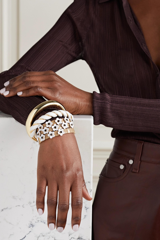 Roxanne Assoulin New Camellia set of three enamel and gold-tone bracelets