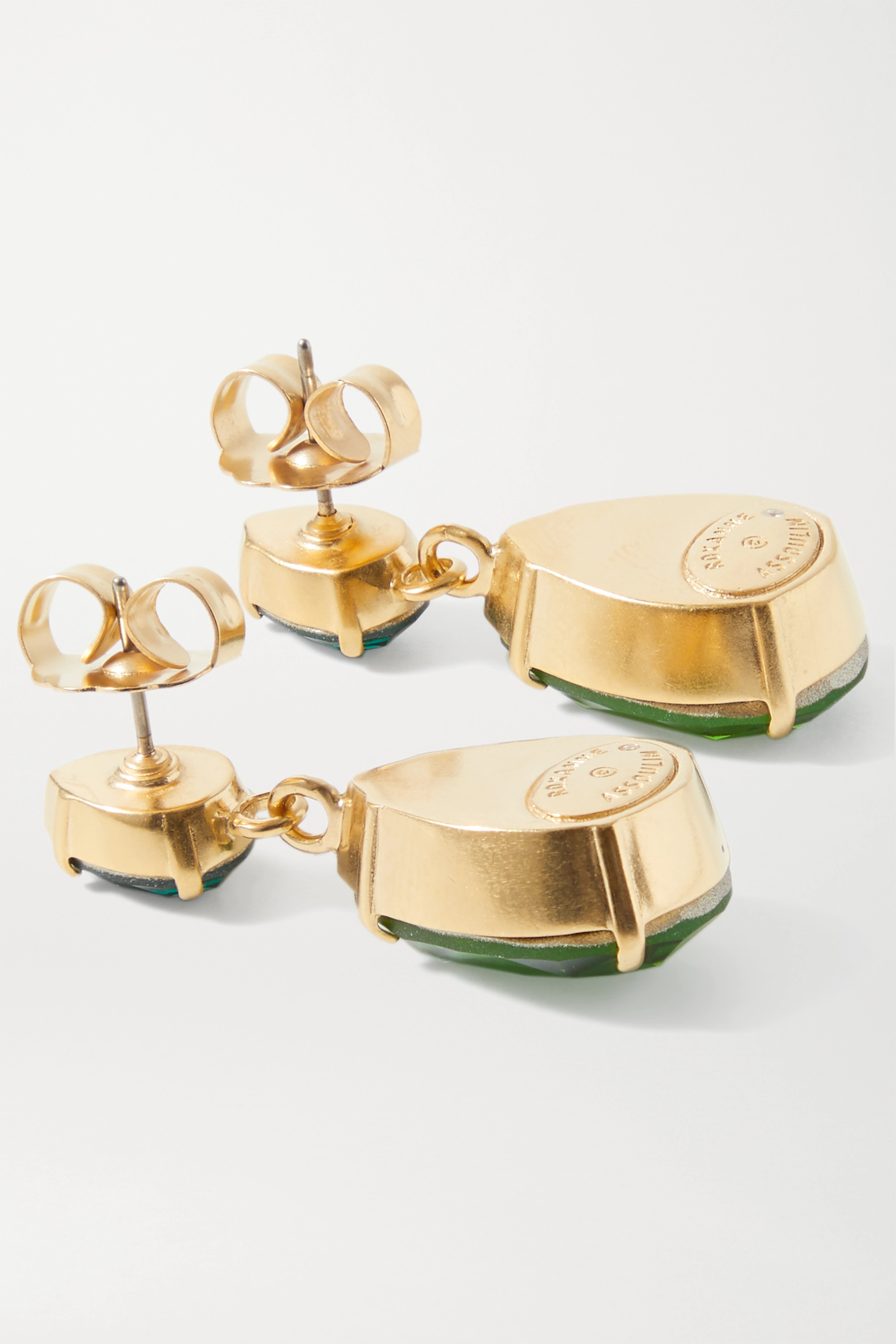 Roxanne Assoulin Double Tear goldfarbene Ohrringe mit Kristallen