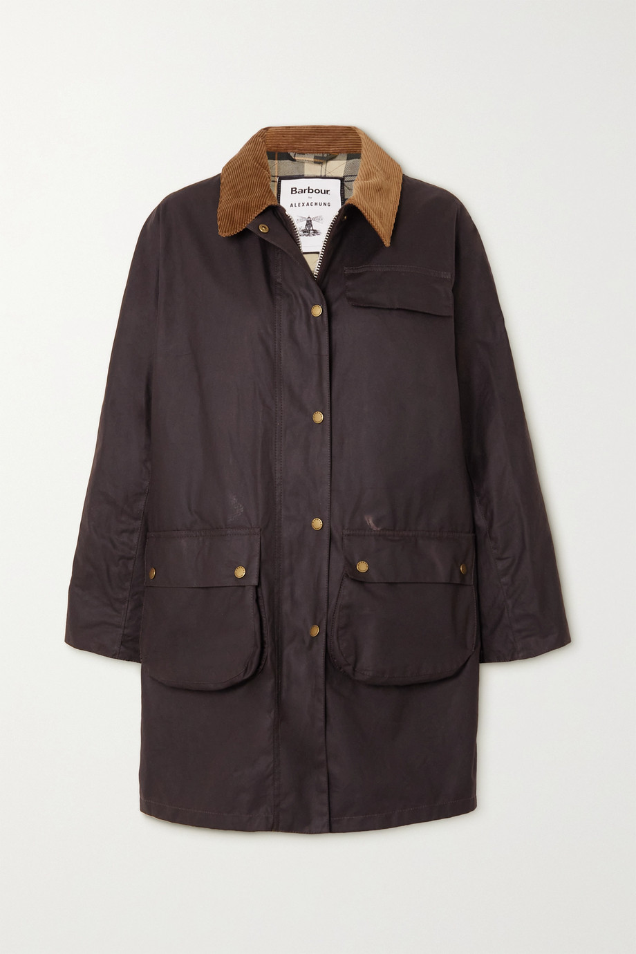 Barbour + ALEXACHUNG Rowan corduroy-trimmed waxed-cotton jacket