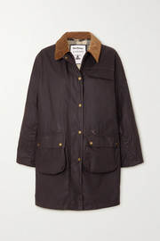 Barbour + ALEXACHUNG Rowan corduroy-trimmed waxed-cotton jacket