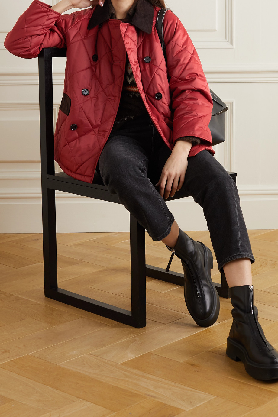 Barbour + ALEXACHUNG Delia corduroy-trimmed quilted cotton-shell jacket