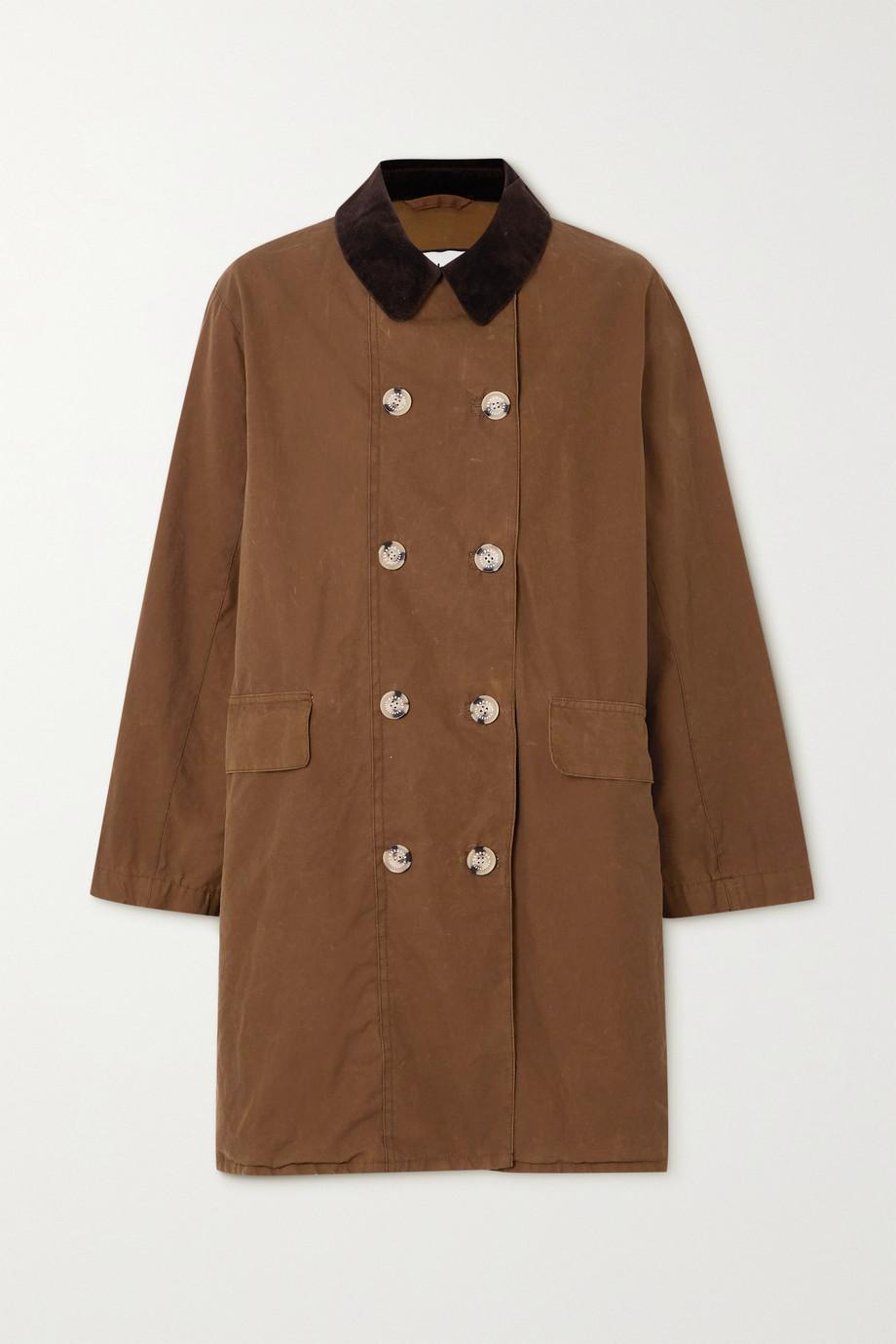Barbour + ALEXACHUNG Maud corduroy-trimmed cotton-gabardine jacket