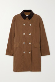 Barbour + ALEXACHUNG Maud corduroy-trimmed cotton-gabardine jacket