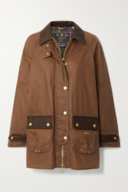 Barbour Winslet leather-trimmed waxed-cotton jacket