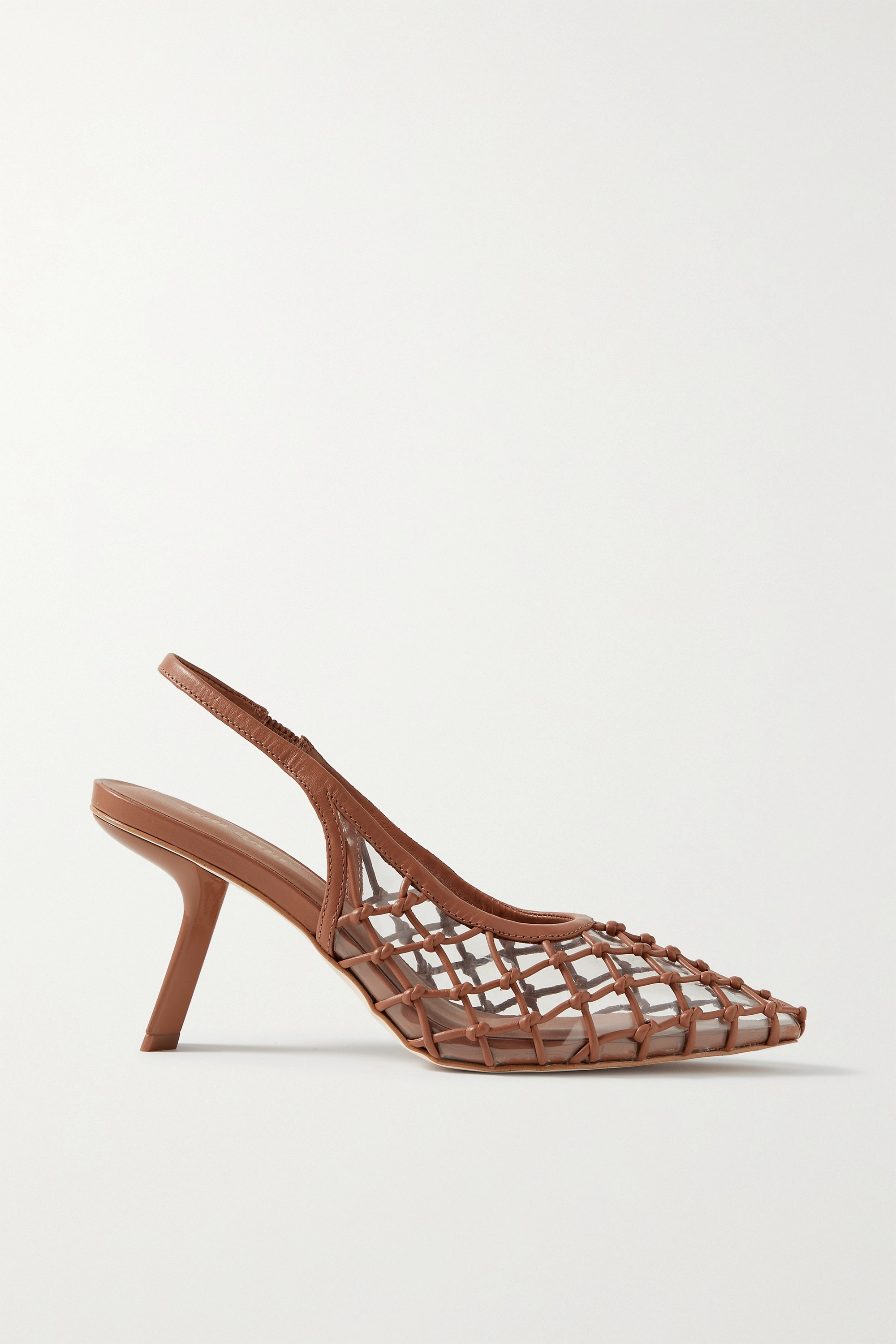 Cult Gaia Soray 75 knotted leather and PVC slingback pumps