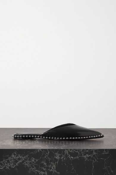 Alexander Wang MIRA STUDDED GLOSSED-LEATHER POINT-TOE FLATS