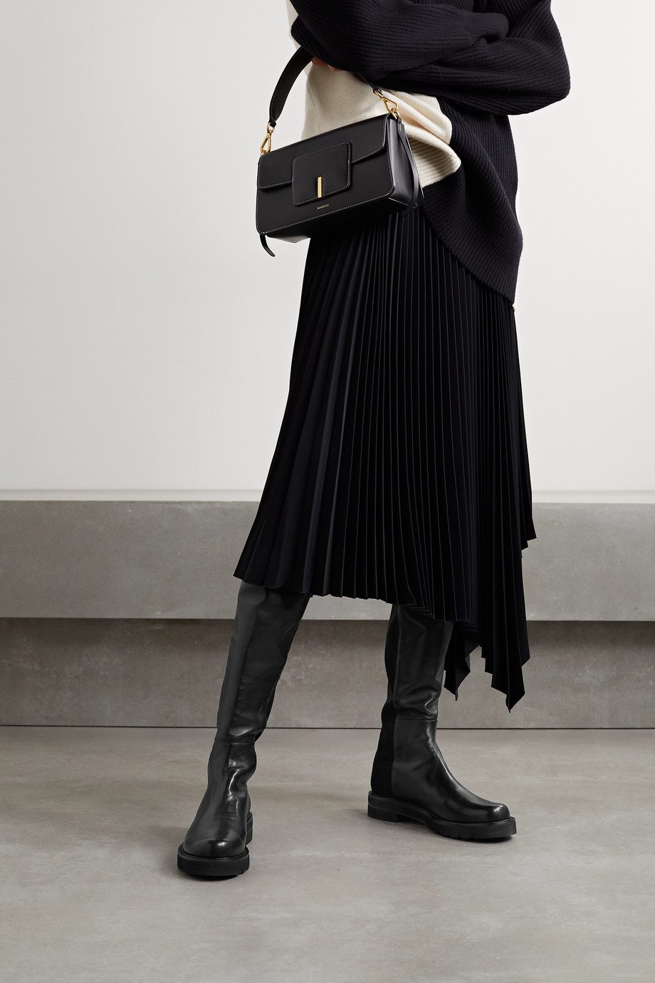 Stuart Weitzman 5050 Lift leather and neoprene over-the-knee boots