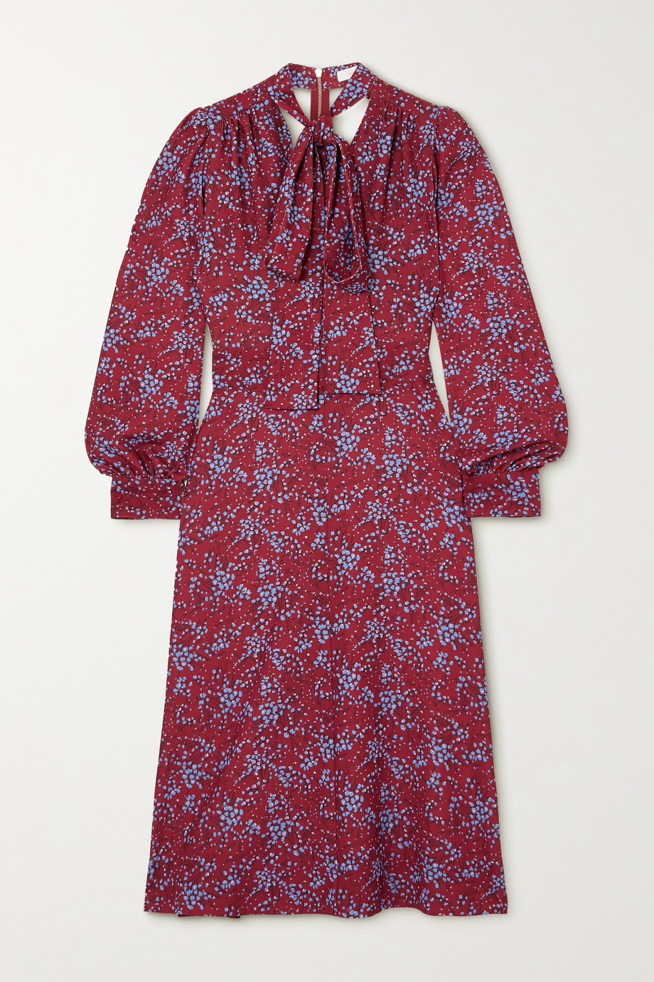 See By Chloé Pussy-bow floral-print crepe midi dress
