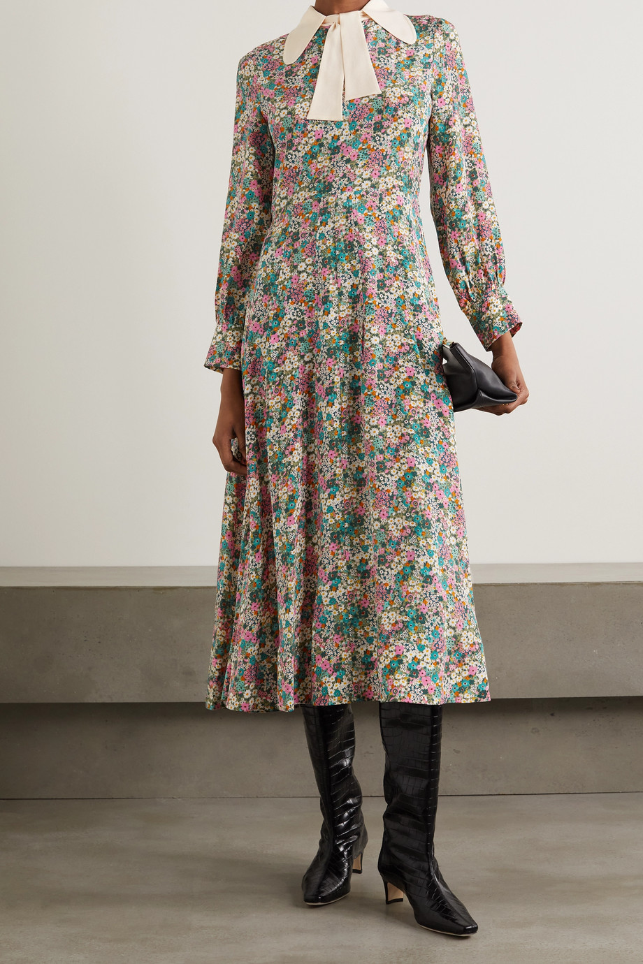 See By Chloé Pussy-bow floral print silk crepe de chine midi dress