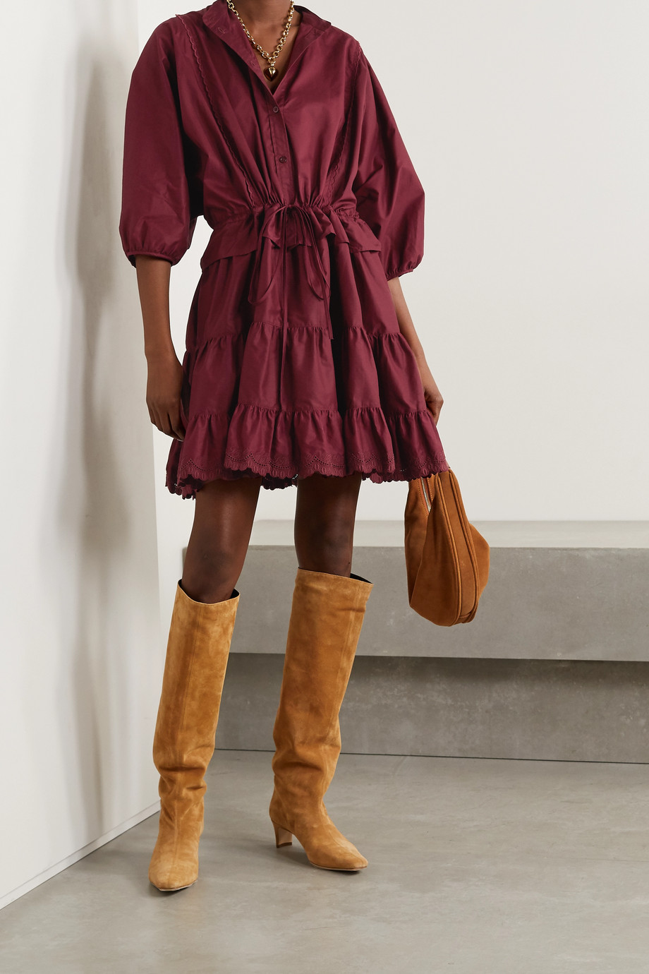 See By Chloé Tiered embroidered cotton-poplin mini dress